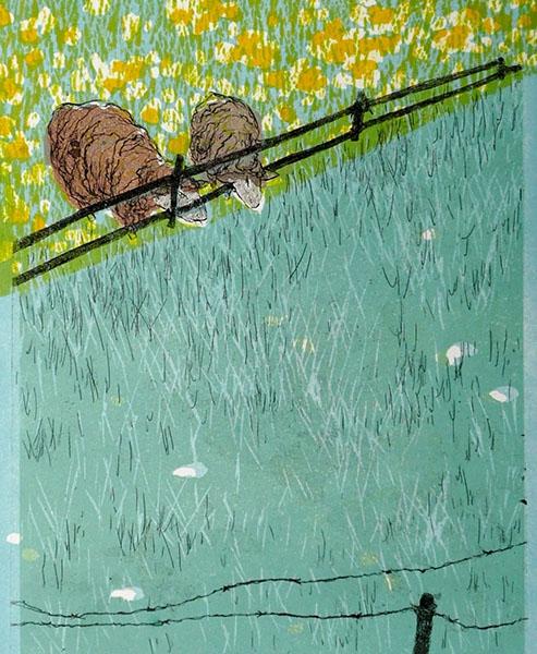 Buurmans gras is altijd groener, 22 x 27, ets/linosnede, € 85,-