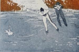 schaatsen, 10 x 14, ets/aquatint, € 30,-