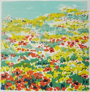 lente in Auvergne, 18 x 18, steendruk, € 65,-