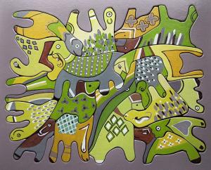 puzzel (meerdere kleuren), hout, 27 x 33, € 95,-