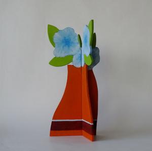 vaas bloemen blauw, hout, 33 x 16 x 16, € 65,-