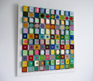 paneel Vasarely, hout en papier, 55 x 62, € 375,-