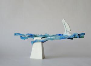 zeilen, houten object, 43 x 19 x 6, € 145,-
