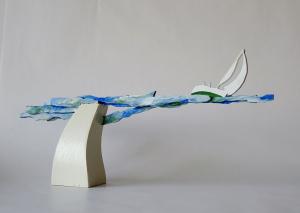 zeilen, houten object, 35 x 19 x 6, € 145,-