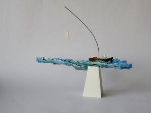 vissen, houten object, 33 x 28 x 6, € 145,-