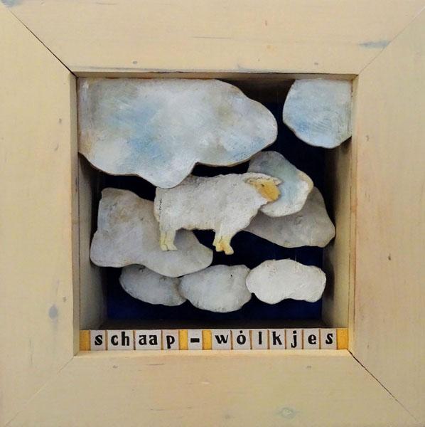 schaap-wolkjes, 30 x 30, kijkdoos, € 185,-