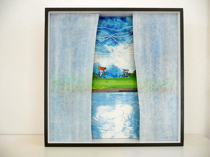 """kistje """"Hollandse polder"""", gemengde techniek, 47 x 47 x11, € 325,-"""