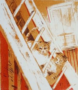 Nieuwsgierige katten, 21 x 24, steendruk, € 85,-;