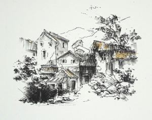 Frans landschapje, 17 x 22, steendruk, € 40,-
