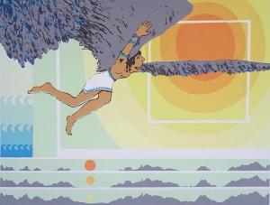 Icarus, testpiloot, 42 x 56, zeefdruk, € 135,-;