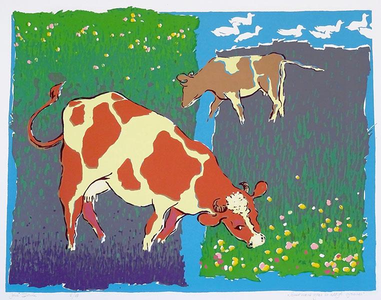 buurmans gras is altijd groener, 41 x 52, zeefdruk, € 155,-
